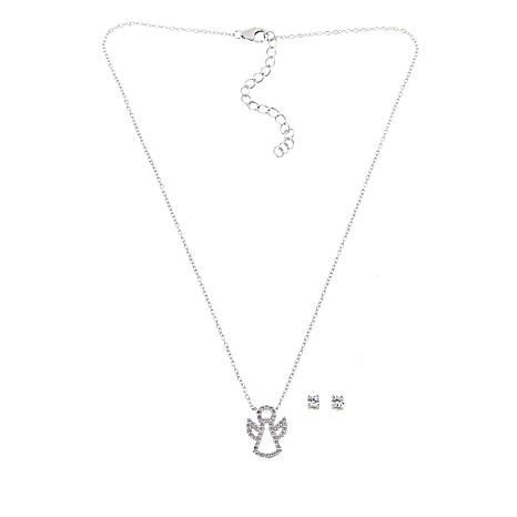 Lily Nily Girl's White CZ Angel Sterling Silver Necklace with Earrings