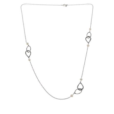 """LiPaz 36"""" Sterling Silver Pearl Station Necklace"""
