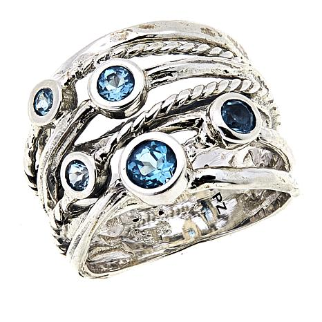 LiPaz .72ctw Blue Topaz Layered Textured Sterling Silver Ring
