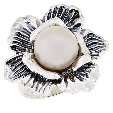 LiPaz Cultured Freshwater Pearl Center Flower Sterling Silver Ring