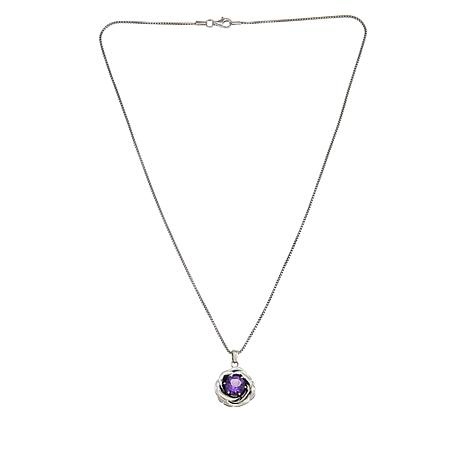 LiPaz Sterling Silver Amethyst Flower Pendant with Chain Necklace