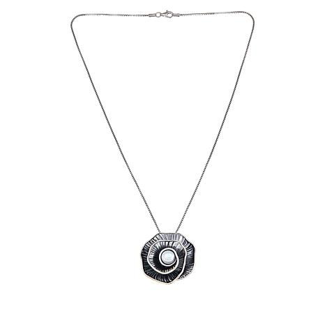 LiPaz Sterling Silver Cultured Pearl Spiral Flower Pendant
