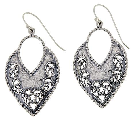 LiPaz Sterling Silver Hammered Lace Cut-Out Earrings