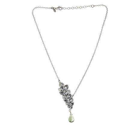 LiPaz Sterling Silver Prasiolite Drop Leaf Necklace