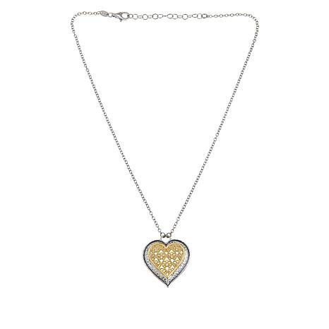 LiPaz Sterling Silver Two-Tone Lace Heart Necklace