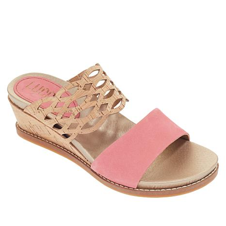 Lucca Lane Wanette Leather and Cork Wedge Sandal