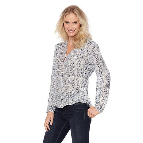 Lucky Brand Smocked Peasant Top - Missy
