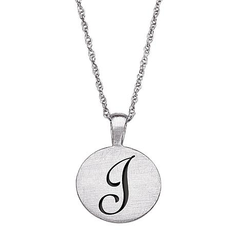 """Lucky Letter"" Disc Pendant with Rope Chain"