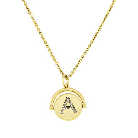 Lulu DK Goldtone Initial Spinner Pendant with Chain