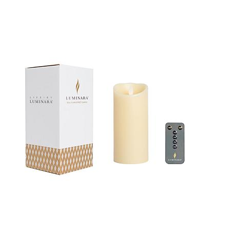 "Luminara 7"" Unscented Wax Flameless Candle with Remote and Gift Box"