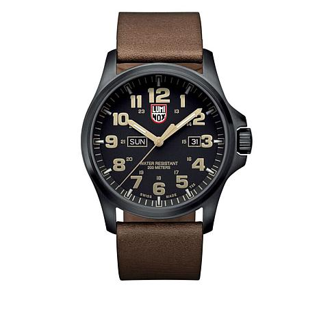 "Luminox ""Atacama Field Day Date"" Leather Strap Watch"