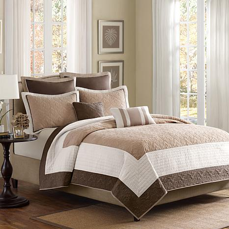 Madison Park Attingham 7-Piece Coverlet Set - Full/Queen/Beige