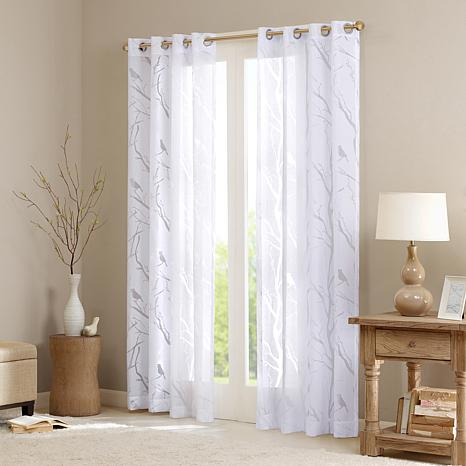 Madison Park Averil Sheer Bird Panel Curtain-White-50x95""