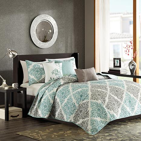 Madison Park Claire 6-Piece Quilted Coverlet Set - King/Cal King/Aqua