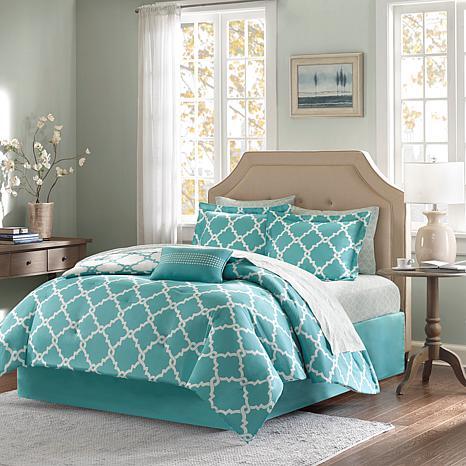 Madison Park Merritt 9pc Bedding Set - Queen/Aqua