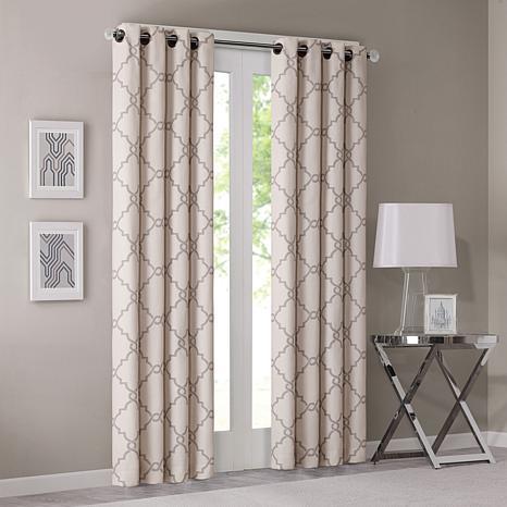 "Madison Park Saratoga Fretwork Window Curtain - Beige - 50"" x 84"""