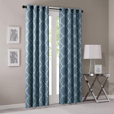 "Madison Park Saratoga Fretwork Window Curtain - Blue - 50"" x 63"""