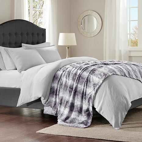 "Madison Park Zuri Faux Fur Oversized Bed Throw 96""x80"" - Grey"