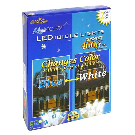 Magic Touch 70 LED Icicle Lights in Blue/White