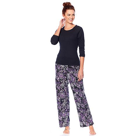 2bc5a260793 Maidenform Ribbed Top and Fleece Pant Pajama Set - 8801603 | HSN