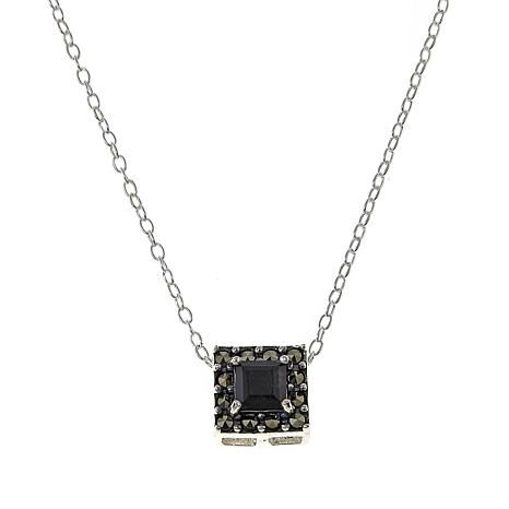 "Marcasite and Black Onyx Square Pendant Drop 18"" Necklace"
