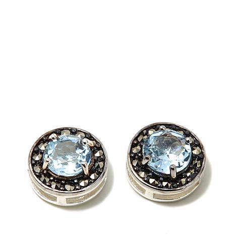 Marcasite and Blue Topaz Sterling Studs