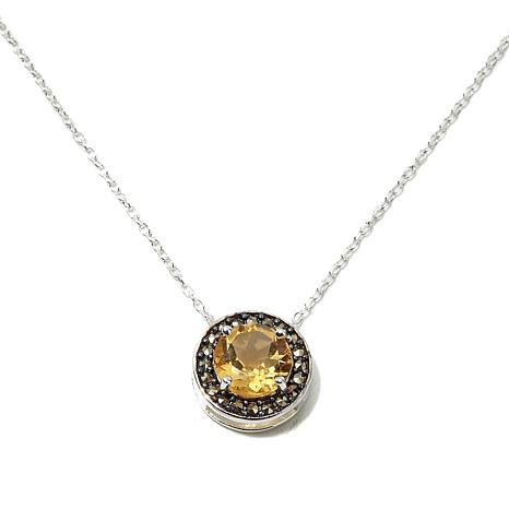Marcasite and Citrine  Sterling Silver Pendant w/Chain