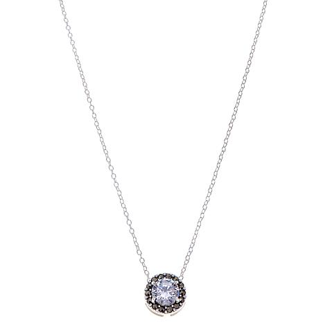 "Marcasite and Clear CZ  Circle Drop 13"" Choker Necklace"