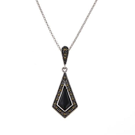 "Marcasite and Color-Enhanced Onyx Marquise Pendant with 18"" Chain"