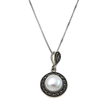 Marcasite & Cultured Pearl Button Sterling Silver Pendant with  Chain