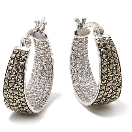 Marcasite and CZ Sterling Inside/Outside Hoop Earrings