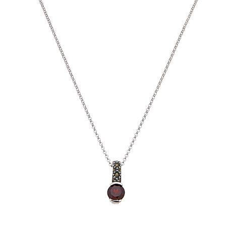 Marcasite and Garnet Pendant with Chain - January