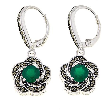 Marcasite and Green Agate Sterling Silver Flower Drop Earrings