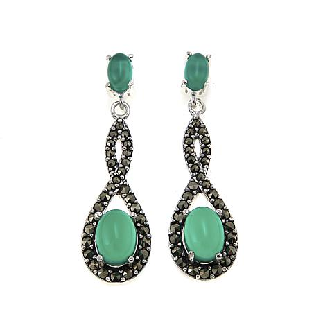 Marcasite and Green Agate Sterling Silver Infinity Drop Earrings