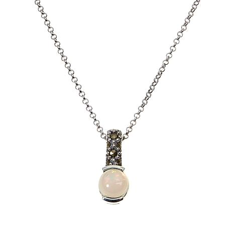 Marcasite & Opal Sterling Pendant with Chain - October