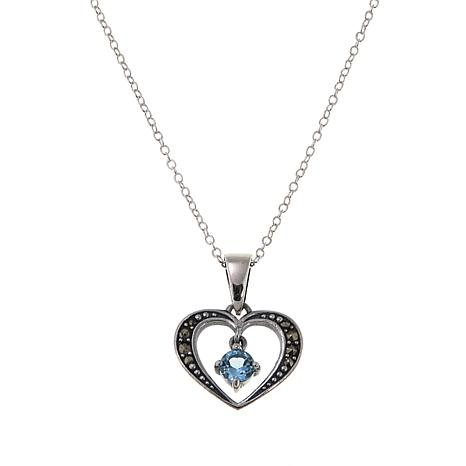 "Marcasite and Sky Blue Topaz Open-Heart Pendant with 18"" Chain"