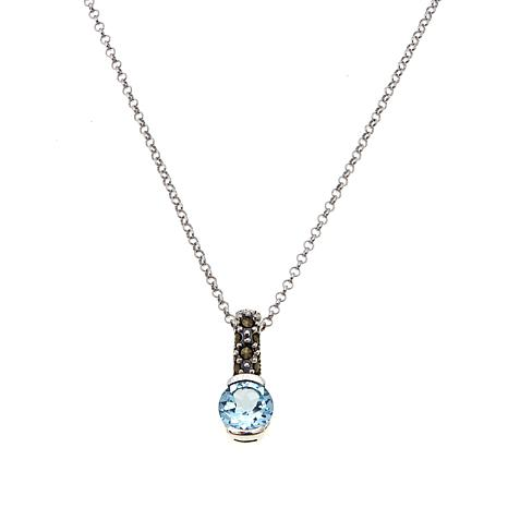 Marcasite & Sky Blue Topaz Pendant with Chain - March