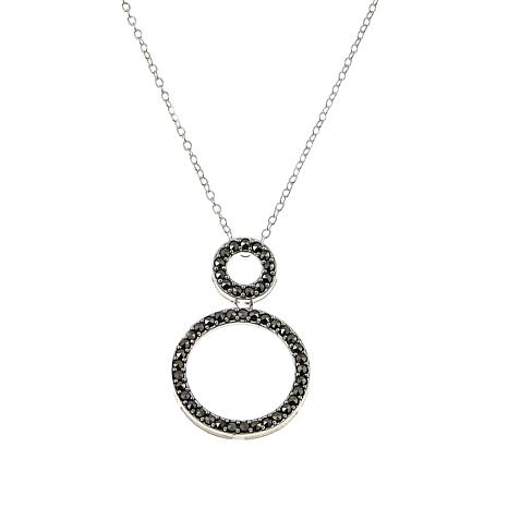"Marcasite Double-Circle Sterling Silver 18"" Pendant Necklace"