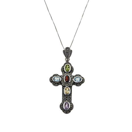"Marcasite Multigem Sterling Silver Budded Cross Pendant with 18"" Chain"