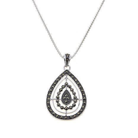 Marcasite Open Metalwork Teardrop Pendant with Chain