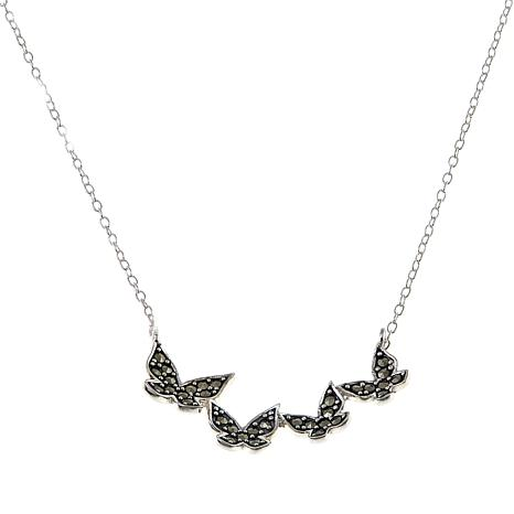 "Marcasite Sterling Silver Butterfly 18"" Necklace"
