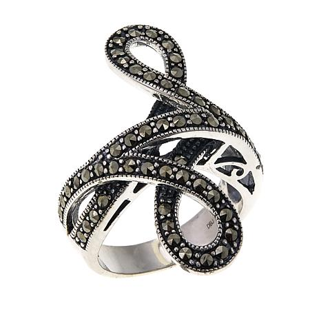 Marcasite Sterling Silver Bypass Ribbon Ring