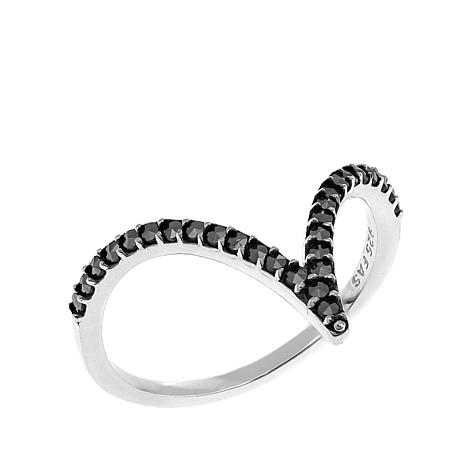 Marcasite Sterling Silver Curved Chevron-Design Ring