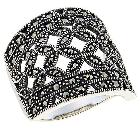 Marcasite Sterling Silver Flower Cut-Out Band Ring