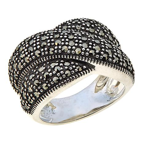 Marcasite Sterling Silver Overlapping Ring