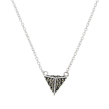 """Marcasite Sterling Silver Pyramid-Design 18"""" Necklace"""