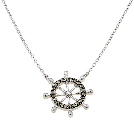 Marcasite Sterling Silver Ship's Wheel Drop Necklace