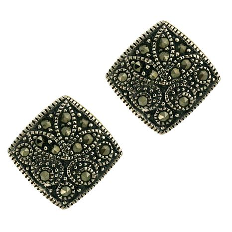 Marcasite Sterling Silver Square Earrings