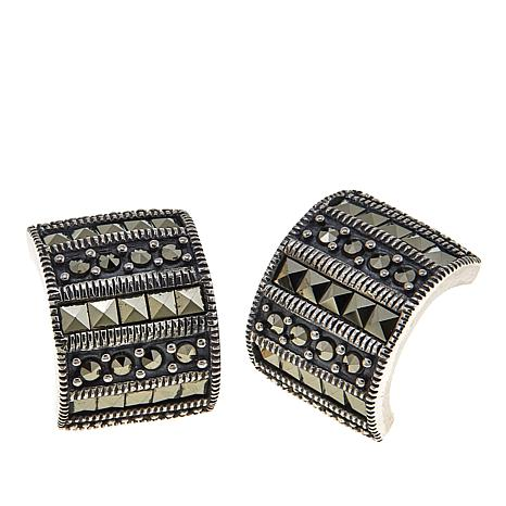 Marcasite Sterling Silver Wide Half-Huggie Hoop Earrings