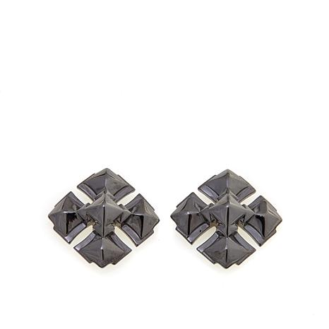 "Margo Manhattan ""Maxine"" Black Cross Stud Earrings"